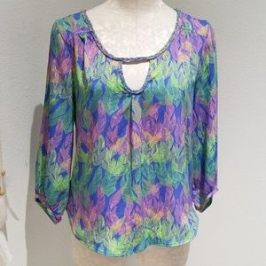 American Eagle Outfitters runic blouse feathers sm